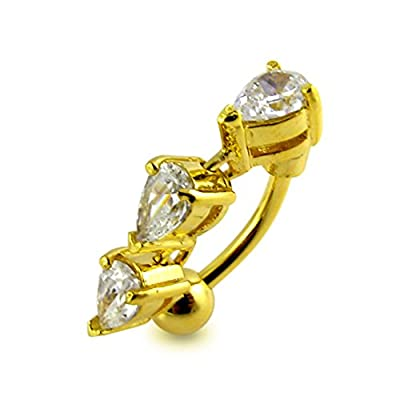 Piercing-Schmuck 3 Micron 18K vergoldet weiß Crystal Stone Trendy Reverse Goldbarren Sterlingsilber Nabel Ring