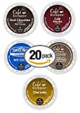 20-count K-cup for Keurig Brewers Cafe Escapes Variety Pack Featuring Swiss Miss, Cafe Milk Chocolate, Cafe Dark Chocolate, Chai Latte, and Cafe Mocha