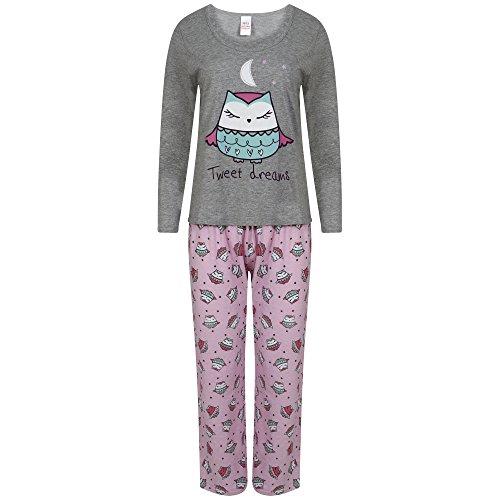 Donna manica lunga Jersey di cotone pigiama. Uccelli, motivo: Bulldog francese o gufo. Misure 10-1214-1618-20 Grey/Pink Medium