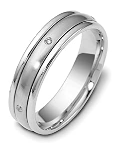 Mens 10K White Gold, Satin Domed 5MM Wed Band, .03 cttw