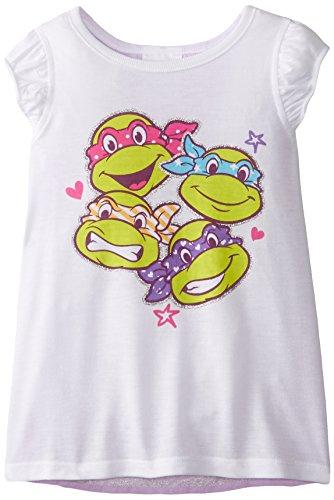 Teenage Mutant Ninja Turtles Little Girls' Tee Shirt, White Faces, 4 (Ninja Turtles Face)