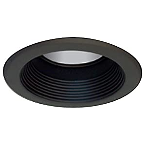 "Elco Lighting EL511B Recessed Lighting Trim, 5"" Line Voltage Metal Splay Baffle Trim - White with Black Baffle"