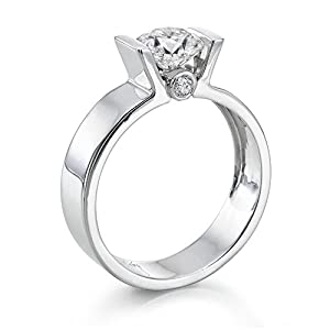 GIA Certified, Round Cut, Solitaire Diamond Ring in 18K Gold / White (1 ct, F Color, SI1 Clarity)