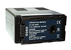 Replacement Battery Panasonic VBG-6 for AG-AC7, AG-AC130A, AG-AC160A, AG-HMC40, AG-HMC70, AG-HMC150,