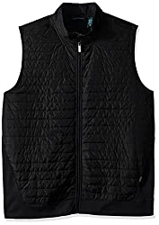 Perry Ellis Men's Big and Tall Quilted Mix Media Zip Vest, Black, Tall/Large