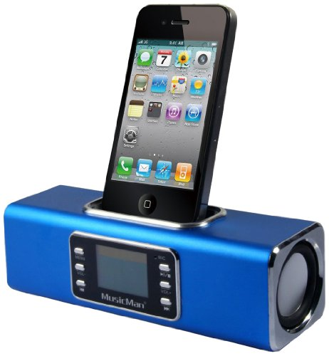 MusicMan Wireless Soundstation BT-X1 (MP3 Player, FM Radio ,Bluetooth, LCD Display, USB, MicroSD Kartenslot, Line-In, Docking & austauschbarer, wiederaufladbarer Akku) blau