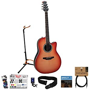 Ovation CA24S-CCB-Kit02 Acoustic-Electric Guitar Kit with Strings, Strap, Tuner, Cable, Stand & GoDpsMusic Pick Sampler
