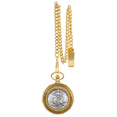 Silver Walking Liberty Half Dollar Goldtone Train Pocket Watch With Skeleton Movement