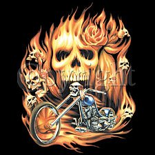 Biker with Skull in Flames Motorcycle T-shirt, X-Large, Black