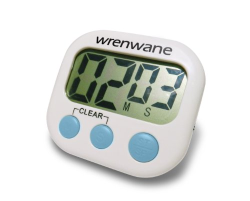 Wrenwane® Digital Kitchen Timer, Big Digits, Loud Alarm, Magnetic Backing, Stand, White