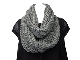 Super Soft Acrylic/Wool Chunky Knitted Circle Loop Scarf-Charcoal