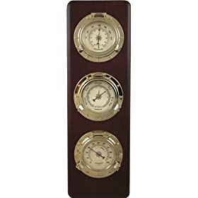 Ambient Weather WS-GL032 Porthole Collection Weather Center with Thermometer, Hygrometer, Barometer