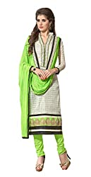 7 Colors Lifestyle White Coloured Embroidered & Printed Chanderi Unstitched Dress Material(Free Size_White)