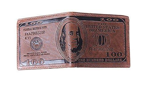 08. HENGSONG Men US Dollar Bill Wallet Leather Credit Card Photo Holder Bifold Billfold (dark brown)