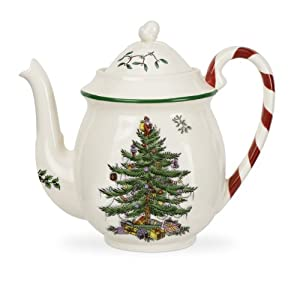 #!Cheap Spode Christmas Tree Candy Cane Teapot