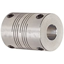 "Ruland PSR10-3-2.5-A Set Screw Beam Coupling, Polished Aluminum, Inch, 3/16"" Bore A Diameter, 5/32"" Bore B Diameter, 5/8"" OD, 4/5"" Length, 16 lb-in Nominal Torque"