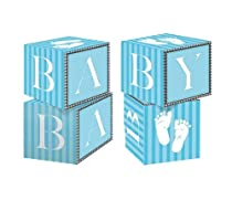 Creative Converting Sweet Baby Feet Blue Centerpiece Blocks