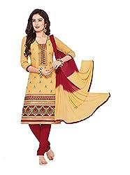 RK Fashion Womens Cotton Un-Stitched Salwar Suit Dupatta Material ( RAJGURU-PAHELI-9282-Beige-Free Size )