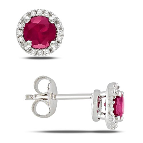 Sterling Silver 1 1/6 CT TGW Created Ruby 0.07 CT TDW Diamond Stud Earrings (G-H, I3)