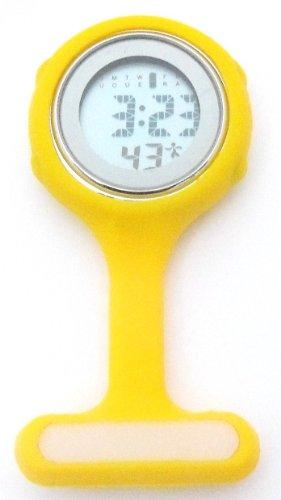 Yellow Digital Unisex Multi Function Silicone Nurses/Brooch/Tunic/Fob/Pocket/Carabiner Watch