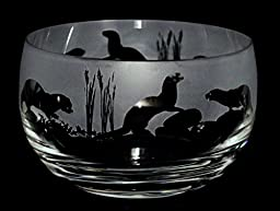 Otter Frieze - small crystal bowl with an Otter frosted frieze design