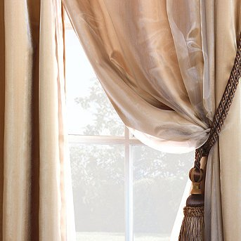 Charmeuse Sheer Curtain Panel Overlay   Off White, 96