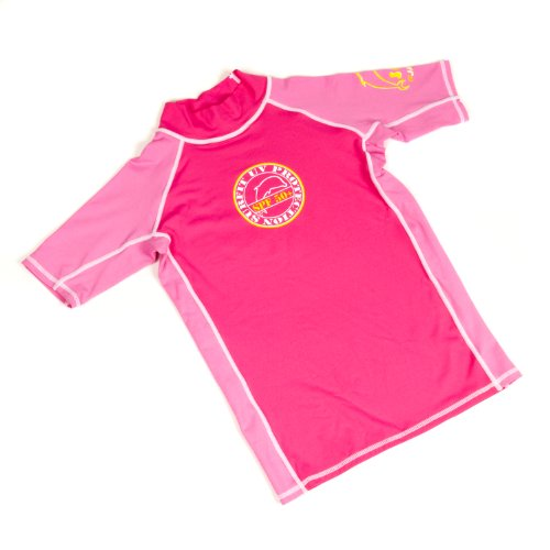 Surfit Girl's Plain Short Sleeve Top UVP 50+ - Pink/Ice, Size 2-3