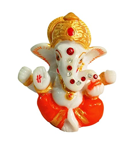 ManeKo Hindu God Idol Marble Mukut Ganesh Temple Showpiece for Car Dashboard  available at amazon for Rs.185