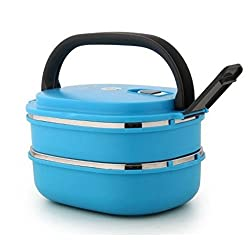 GiftsPlanet Homio Oval Two Layer Lunch Box 1.48L Inner Stainless Steel - Blue