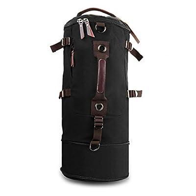 Canvas Backpack Daypack Cylinder Sports Hiking Travel Gym Bag Large