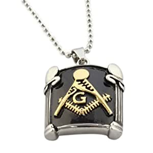 GOMO new design masonic pendant necklace vintage style gold/steel color stainless steel cool pendant p-032