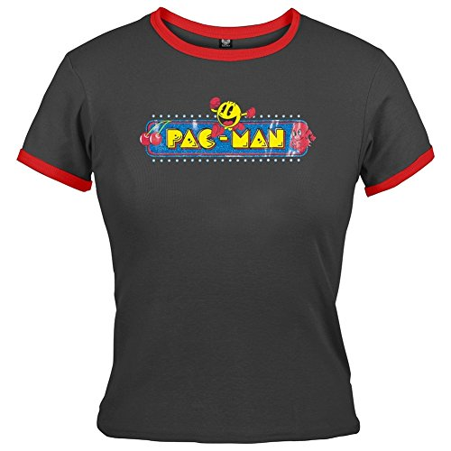 Pac-Man - Womens Retro Ringer Juniors Babydoll Fit Tee - Large
