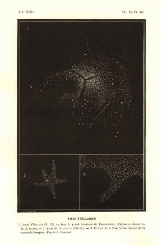 Astronomy: Stellar Clusters, Hercules Birr, Unicorn, Scorpio; Old Print 1877