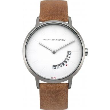 French Connection-Reloj con mecanismo de cuarzo para hombre color blanco esfera analógica pantalla y correa de cuero Bronce fc1278t