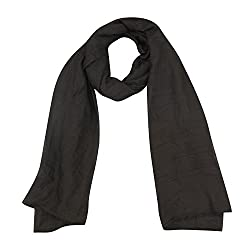 FabSeasons Black Solid Cotton Unisex Scarf, Scarves, Stole and Shawl for Men & Women for all Seasons