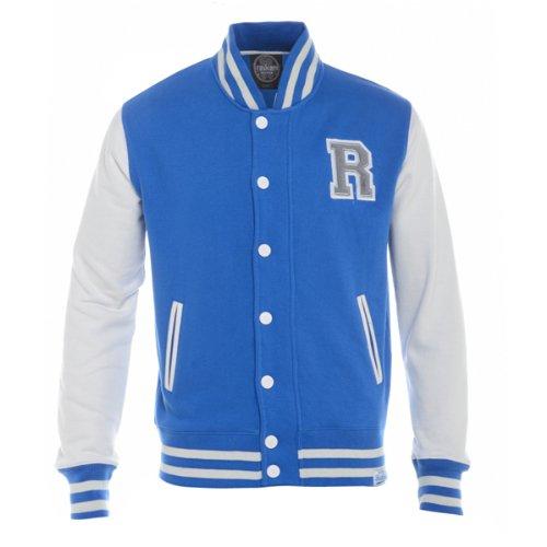 Raiken Letterman R Varsity Baseball Bomber Fleece Jacket Mens Size L - Royal-Blue