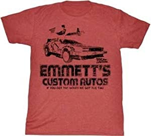 Back to the Future Emmett's Custom Autos Heather Red T-Shirt (Adult X-Large)