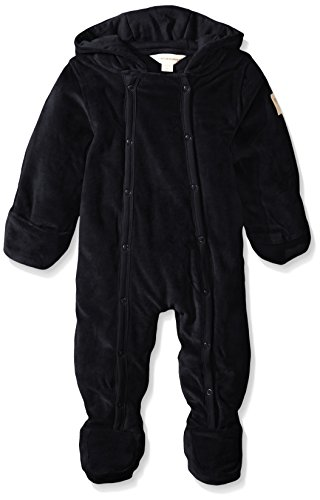 Burt's Bees Baby Unisex-Baby Organic Velour Hooded Bunting, Onyx, 3-6 Months
