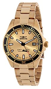 Invicta Women's 15138SYB Pro Diver Gold Dial 18k Ion-Plated Stainless Steel Watch