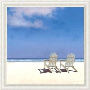 framed solitude by zhen huan lu 12x12 beach scene adirondack chairs art print framed. Black Bedroom Furniture Sets. Home Design Ideas