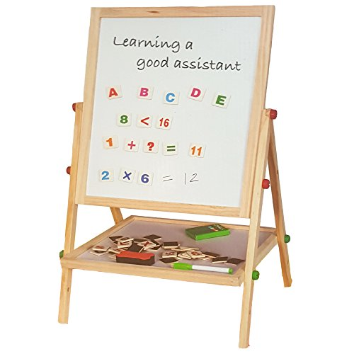 lado-childrens-black-board-magnetic-white-board-double-sided-wooden-easel-100cm-revolving-board-free