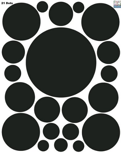 Wall Dots-(21) Black Polka Dot Wall Sticker Appliques - 1