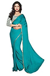 INDIA FASHION SHOP WOMENS SEA GREEN PLAIN NAZMIN SAREE