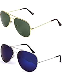 SHEOMY SUNGLASSES COMBO - SILVER BLUE MERCURY AVIATOR SUNGLASSES AND AVIATOR GOLDEN GREEN SUNGLASSES WITH 2 BOXES...