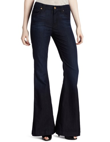 7 For All Mankind Women's Highwaist Flare Jean, Deep Blue Creek, 24