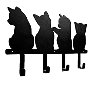Metal Cute Cats Wall Mounted Coat Rack 4 Hooks