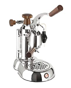 La Pavoni PSW-16 Stradavari 16-Cup Espresso Machine, Chrome with Wood Handles