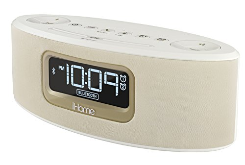 iHome IBT31WC Bluetooth Stereo FM Clock Radio and Speakerphone with USB Charging (White)