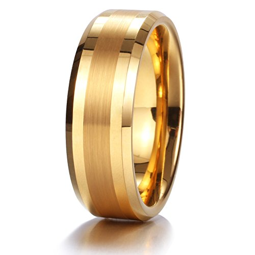 King Will 8mm 14k Gold Tungsten Carbide Ring Brushed Center Mens Wedding Band Comfort Fit(9.5)