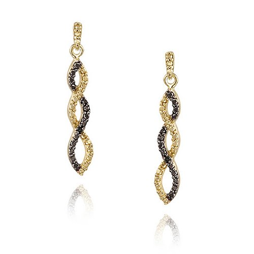 18K Gold over Sterling Silver Black Diamond Accent Infinity Dangle Earrings